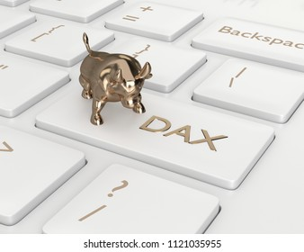 3d render closeup of computer keyboard with DAX index button and bull. Stock market indexes concept.