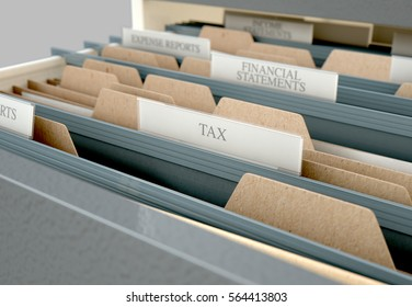 A 3D render closeup view of an open filing cabinet drawer revealing income tax related documents inside