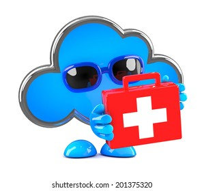 3d render of a cloud holding a first aid kit