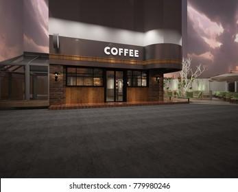 3d render of Coffee shop exterior