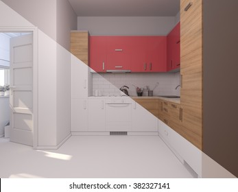 3D render collage of interior design kitchen in a studio apartment in a modern minimalist style. The illustration shows a corner kitchen in red and wooden color fasades