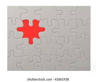 3d render of color puzzle