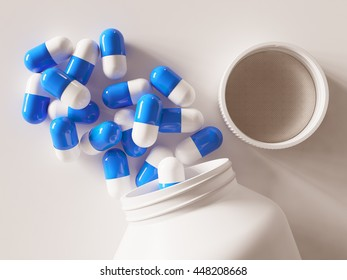 3d render of colored pills an pill bottle on white background