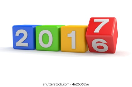 3d render of colorful cubes with 2016 - 2017 over white background - represents the new year 2017.
