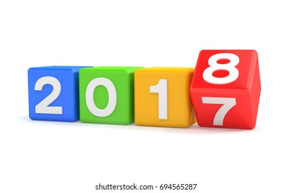 3d render of colorful cubes with 2017 - 2018 over white background - represents the new year 2018.