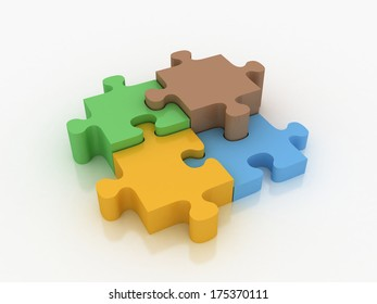 3d render colorful shiny puzzle on  white background
