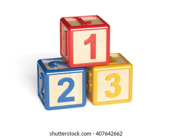 3d render of colorful wooden alphabet blocks isolated on white background