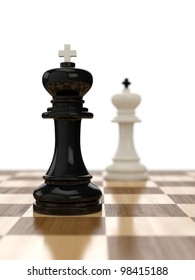 3d render of composition with kings on glossy chessboard