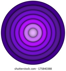 3d render concentric pipes in multiple purple magenta