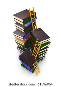 3d render concept. ladders and stacks of book, isolated over white background