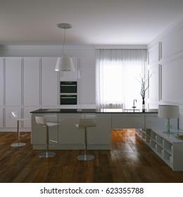 3d render contemporary white kitchen and wooden parquet floor