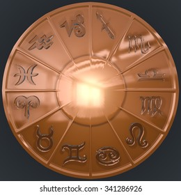 It's a 3D render of Copper Disk with Glassy Zodiac Signs with high resolution.