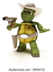 3D render of a Cowboy Tortoise with Stetson and pistol