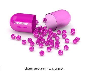 3d render of creatine pill with granules over white background. Sport supplements concept.