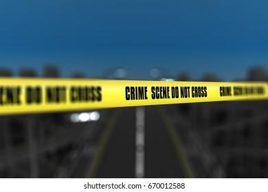 3D render of a crime scene tape against defocussed city background