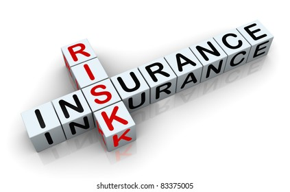 3d render of crossword text 'insurance risk'