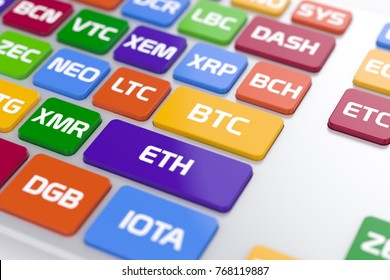 3d render of cryptocurrency coin computer PC communication keyboard concept. View of computer keyboard button with color altcoins name buttons