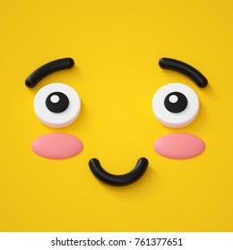 3d render, cute emotional cartoon face, shy smiley kid, adorable smile, emoticon, emoji