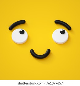 3d render, cute emotional cartoon face, shy smiley kid, adorable smile, dreamer, emoticon, emoji