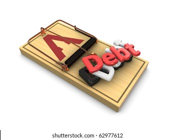 3d render, debt trap concept isolated on white background.