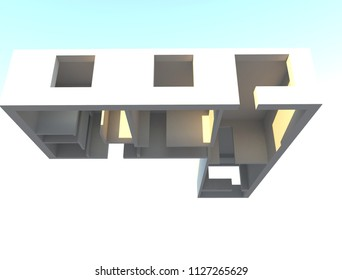 3d render design apartments in perspective view. construction plane