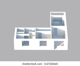 3d render designe apartments in perspective view. construction plane