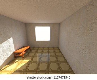 3d render designe apartments room with wallpaper and linoleum, and the wooden table