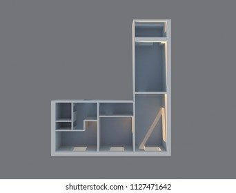 3d render designe apartments top view. construction plane