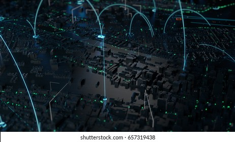3d render of digital city. Abstract urban background. Scyscrappers and small towns with wireframe details and tech connection lines.