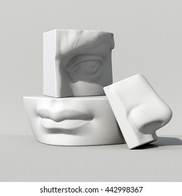 3d render, digital illustration, abstract alabaster blocks, eye, nose, lips, mouth, anatomy sculptural face details, David sculpture parts