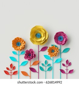 3d render, digital illustration, abstract colorful paper flowers, quilling craft, handmade festive decoration, vivid floral background, mint pink yellow