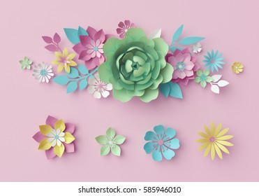 3d render, digital illustration, pastel paper flowers, pink floral background, Easter backdrop, Mother's day greeting card, design elements, artistic handmade, craft flower shapes