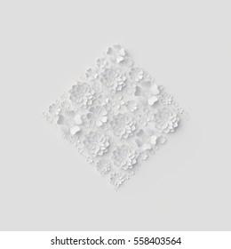 3d render, digital illustration, white floral background, decorative paper flowers, wedding wall decor, bridal ornament
