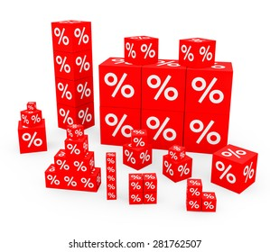 3d render discount concept with red cubes with percent sign on a white background.