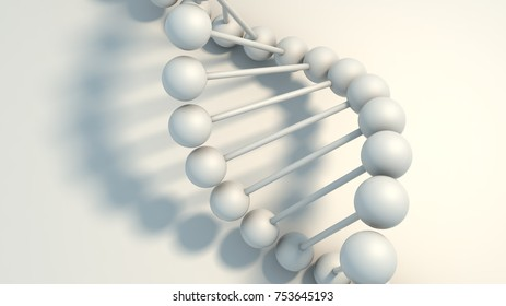 3d render, DNA isolated on white background, element, balls and sticks