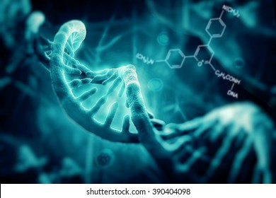 Dna double helix molecule genetic blueprint stock illustration 3d render of dna structure and cells abstract background malvernweather Images