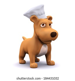 3d render of a dog wearing a chefs hat