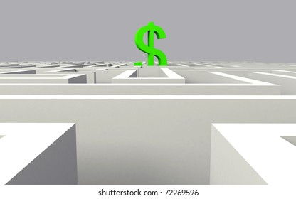 3d render of dollar in the middle of a maze