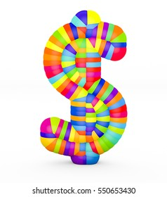 3d render dollar sign made with colorful plastic fragments on a white background.
