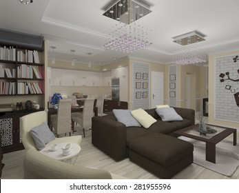 3D render of a drawing room and kitchen in style eclecticism in beige and brown tones