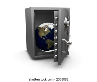 3D render of the Earth in a safe