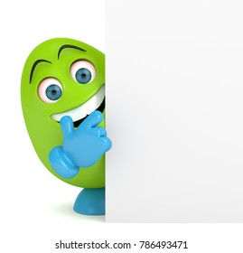 3d render of Easter cartoon egg pointing board over white background