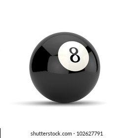 3d render of eight ball isolated on white background
