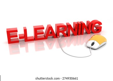 3d render of E-learning text connected to a mouse