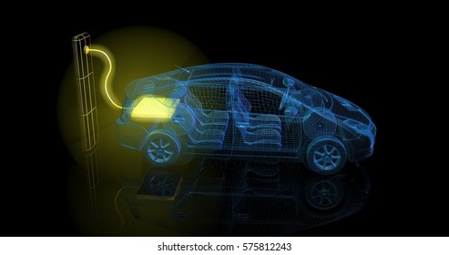 3d render of electric car charging from large glowing yellow battery outlet. All wire frame display