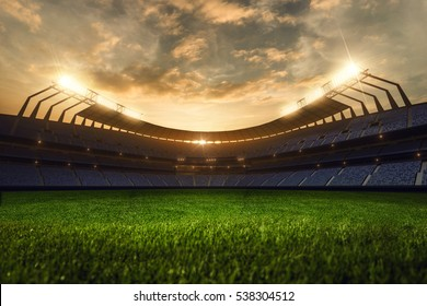 3d render emptry stadium evening without people