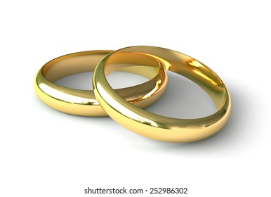 3D render of engagement rings over white background