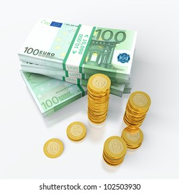 3D render of euro and golden coins stack.