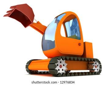 3d render of an excavator
