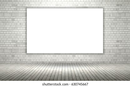 3d render of an exposed brick wall with a blank canvas